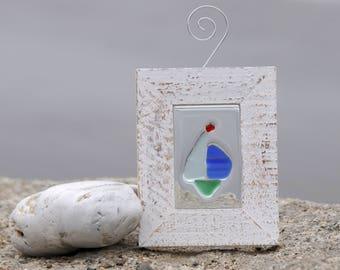 Sea Glass Sailboat Mini Window Art Suncatcher