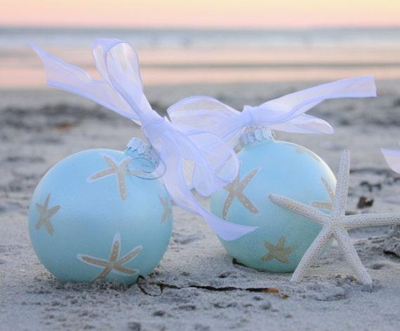 coastal christmas ornament light blue with starfish - Light Blue Christmas Ornaments