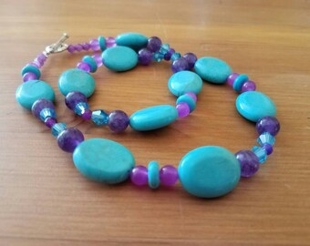 Amethyst turquoise crystal necklace