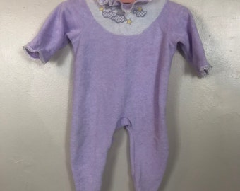 Vintage 80s Baby Girl Carter s Purple Twinkle Star Pajamas Size 3 Months 62dd1954c