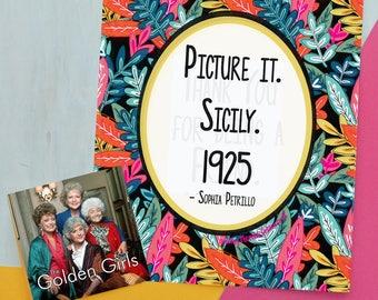 Golden Girls Fan Art - 8x10 Printable, Picture It, Golden Girls Art, Instant Download, Betty White, Bea Arthur, Blanche, Golden Girls Art,