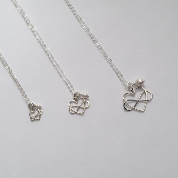 Mother Daughter Necklace Set Intertwined Heart And Infinity Etsy