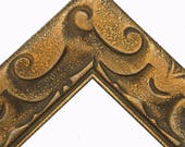Art Deco Rustic Bronze Gold Wood Picture Frame with Wave Pattern Inlay Sizes 8x10 11x14 12x16 16x20 20x24 24x36 Custom Sizes