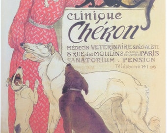 Clinique Cheron 1905 French Veterinary Clinic Advertisement Vintage Poster Print