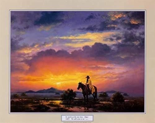 Vintage Western Landscape By Jack Sorenson Hosea 6:3 Quote Psalm 22x28 Inch Art Print Poster