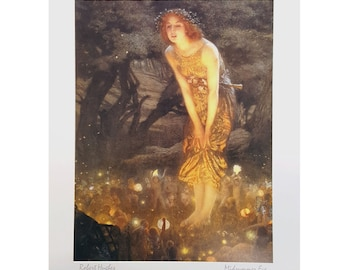 """Midsummer Eve by Edward Robert Hughes 8x10 Vintage Art Print. Print Alone or Framed in 1 1/4"""" Antique Gold or Mahogany Red"""
