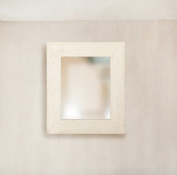 Rustic Antiqued White Cream Distressed Wood Framed Mirror Size 8x10 11x14 16x20 24x26 24x36 20x40 30x36 30x40 Custom Sizes Small To Large