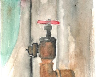 "Rusty Pipe by Lanna Borom 6""x9"" Original Watercolor painting"