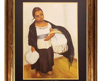 """Nina en Azul y Blanco (Girl in Blue and White) By Diego Rivera 8x10 Art Print. Framed in 1 1/4"""" Antique Gold or Mahogany Red Frame"""