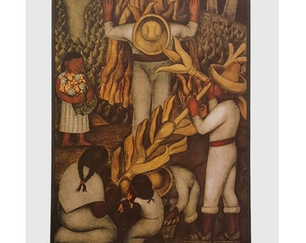 """La Cosecha (Corn Harvest) By Diego Rivera 8x10 Vintage Art Print. Print Alone or Framed in 1 1/4"""" Antique Gold or Mahogany Red Frame"""