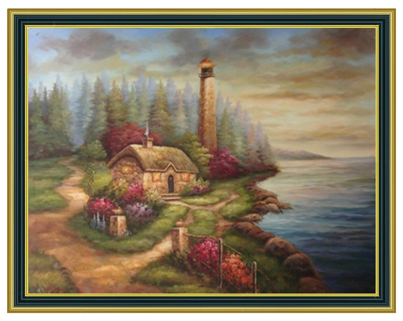 Original Seascape Thomas Kinkade Style Oil Painting with Cottage and  Lighthouse By Ocean Shore 36x48 Stretched Only or 4 Frame Choices