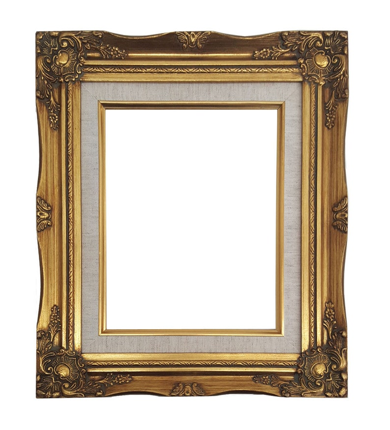 Ornate Baroque Gold Painted Wooden Picture Frame with Cream image 0