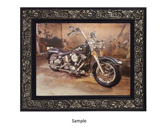 Motorcycle Harley Davidson Biker Silver And Black Picture Etsy