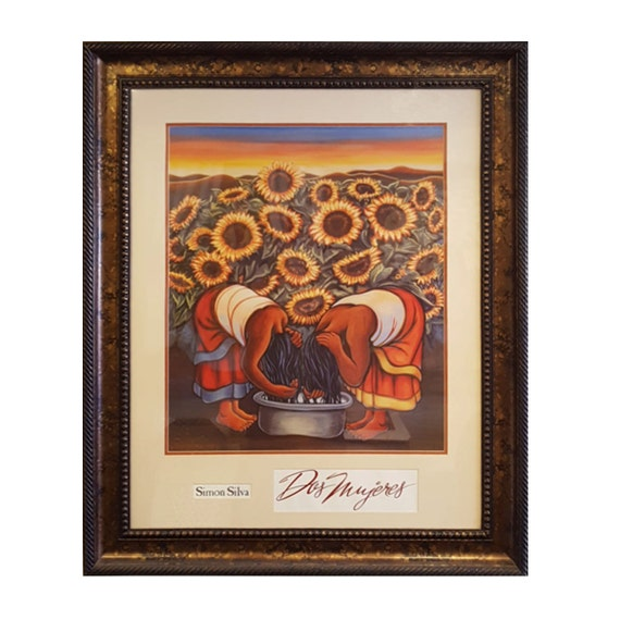 Dos Mujeres By Simon Silva Double Matted And Framed Mexican Etsy