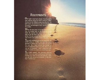 """Christian Art 8x10 """"Footprints in the Sand"""" Print only or framed In 1 1/4"""" Mahogany Red or Antique Gold"""