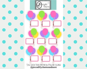 Birthday Balloons Planner Stickers, Piccadilly Charms
