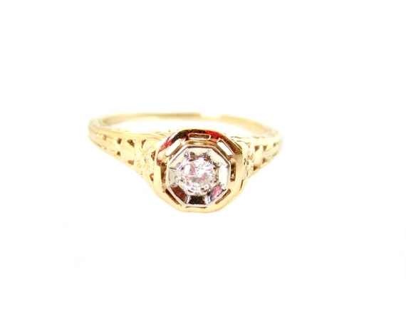 Vintage 1940's 14K Yellow Gold and Diamond Ring -