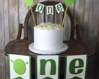 Shrek Inspired One Or Two Banner And Cake Topper This Wanted Ogre Will Make Your Little Ones Party High Chair Smash