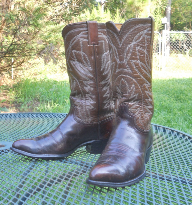dc67a281749 Mens Vintage USA JUSTIN Ft Worth, TX Boots 2 Tone Leather Western Boots  Double Pegged Ranch Cowboy Rodeo 9D