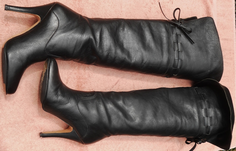 6218925b8bb Vintage The WILD PAIR Black Leather Tall BOOTS Over The Knee | Etsy