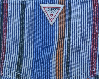 Vintage USA GUESS Pin Striped Shorts Cotton Traditional 5 Pockets Youth age 6 years Waist: 23""