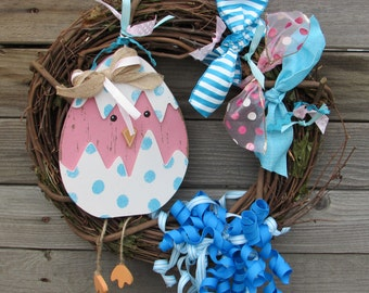 "14"" Spring Chick Wreath Spring Wreath Easter Wreath Spring Twig Wreath Blue Pink Spring Easter Wreath Chick Egg Wreath Spring Door Decor"
