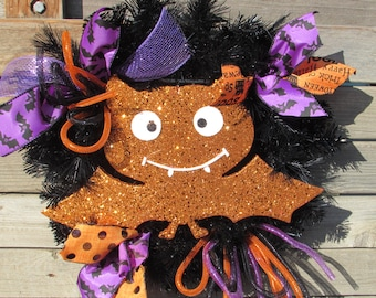 "18"" Bat Wreath Halloween Wreath Bat Door Decor Halloween Door Decor Orange Black Purple Wreath Orange Bat Wreath Black Tinsel Bat Wreath"