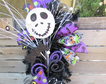 "36"" Halloween Wreath Jack Skellington Wreath Halloween Door Decor Halloween Swag Halloween Teardrop Purple Black Scary Wreath Bat Door Decor"