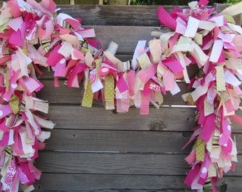 6' Spring Fabric Garland Spring Burlap Swag Girl Birthday Party Garland Baby Shower Garland Pink Green Garland Spring Decor Floral Garland