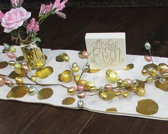 Easter Table Centerpiece Religious Easter Table Decor He Has Risen Centerpiece Easter Egg Floral Table Centerpiece Gold White Table Runner