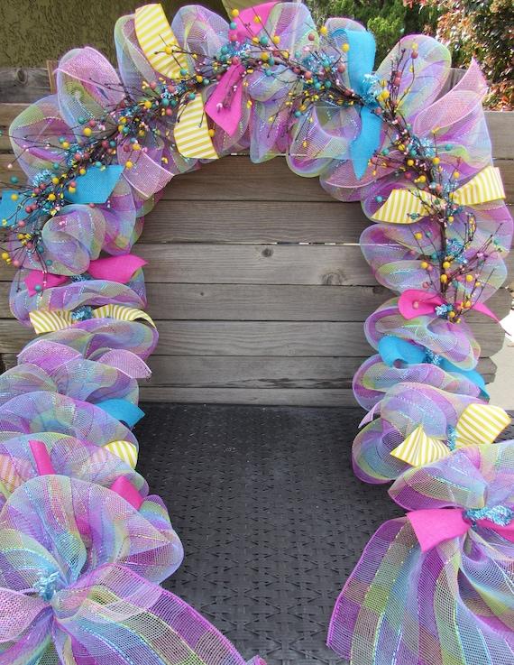 10 Spring Garland Spring Door Decor Spring Deco Mesh Swag Etsy