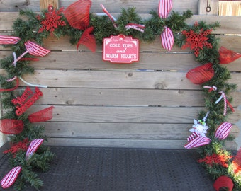 9' Merry Christmas Garland Cold Toes and Warm Hearts Garland Snowman Garland Snowflake Garland Greenery Garland Red Christmas Door Decor