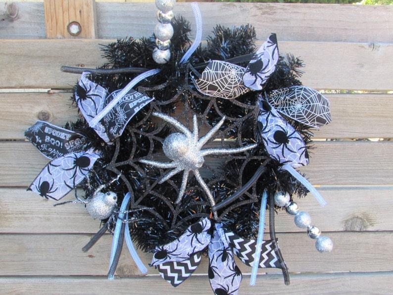 18 Halloween Wreath Spider Wreath Spider Web Wreath Black Silver Wreath Spider Door Decor Halloween Door Decor Halloween Decor Spider Decor