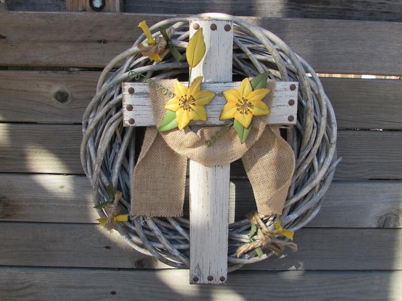 16 Easter Wreath Easter Door Decor Easter Cross Wreath Etsy
