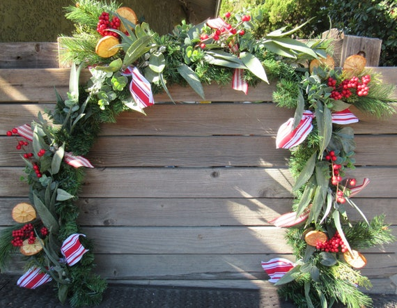 5/' Christmas Greenery Christmas Mantel Swag Christmas Table Decor Christmas Centerpiece Holiday Lambs Ear Greenery Eucalyptus Red Berry Swag