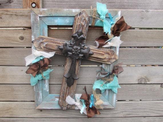 Cross Wall Art Rustic Cross Decor Aqua Frame Cross Art Wooden | Etsy