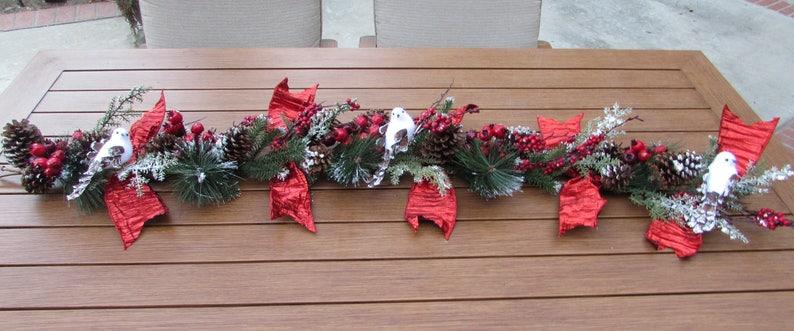 Christmas Greenery Centerpieces.6 Christmas Centerpiece Christmas Table Decor Christmas Greenery Centerpiece Snow Bird Centerpiece Berry Greenery Christmas Mantel Decor