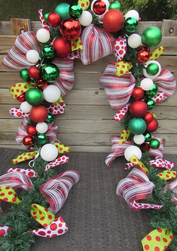 9 Christmas Garland Christmas Ball Ornament Garland Christmas Mantel Garland Red Green White Christmas Door Decor Christmas Stair Garland