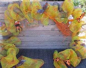10' Halloween Deco Mesh Garland Witch Mesh Garland Monster Garland Orange Green Halloween Door Decor Witch's Broom Garland Monster Decor