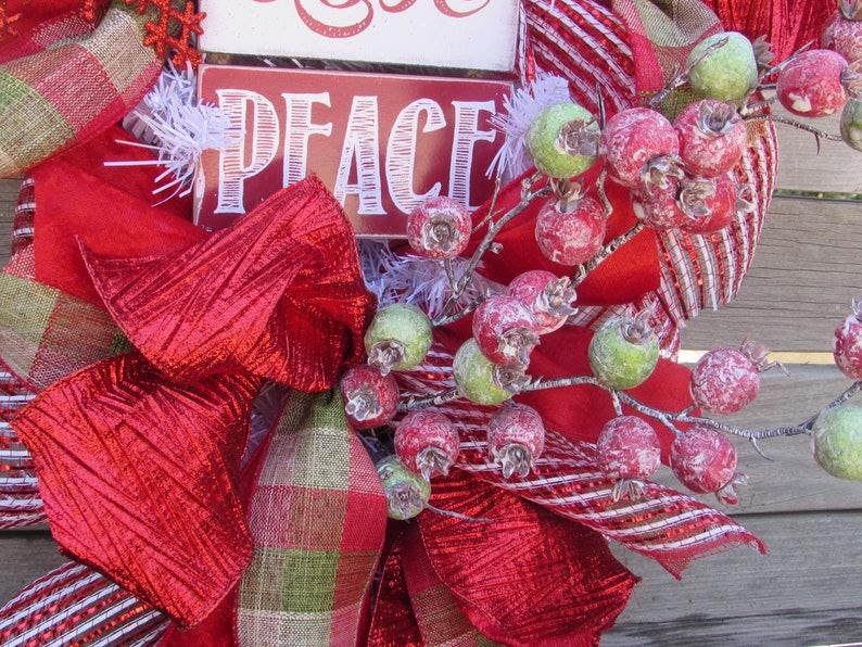 24 Christmas Wreath Christmas Deco Mesh Door Decor Joy Love Peace Swag Snowflake Teardrop Red Green Berry Wreath Holiday Door Decor