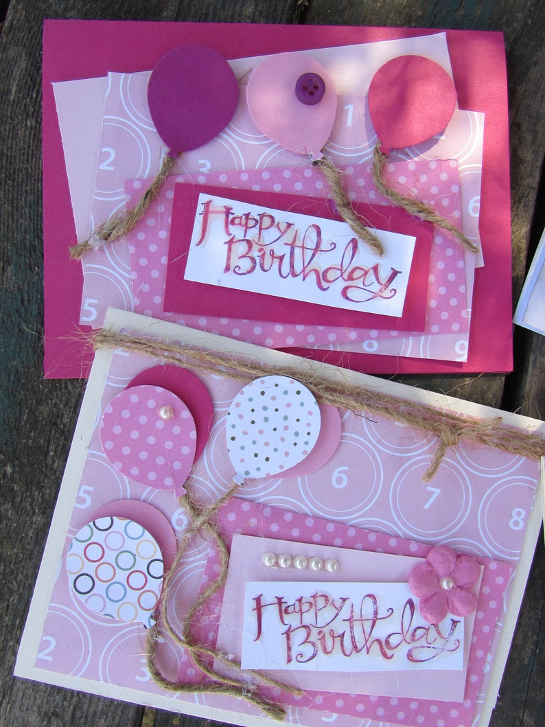 Birthday Cards Boy Girl Happy Birthday Stampin Up Cards Birthday Balloon Cards Pink Blue Birthday Cards Handmade Birthday Balloon Cards