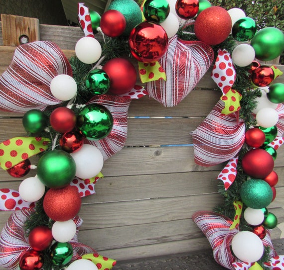 Christmas Ball Garland.9 Christmas Garland Christmas Ball Ornament Garland Christmas Mantel Garland Red Green White Christmas Door Decor Christmas Stair Garland