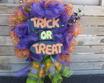 "24"" Trick Or Treat Deco Mesh Wreath- Halloween Deco Mesh Wreath- Bat Deco Mesh Wreath- Spider Deco Mesh Wreath- Orange/Purple Wreath"