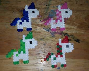 Unicorn Perler Beads Magnet or Keychain