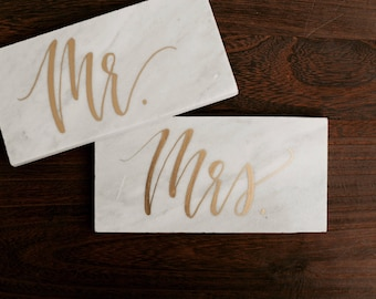 Marble tile place card