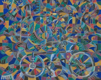 The Last Cyclist. Giclée print of Painting from Africa