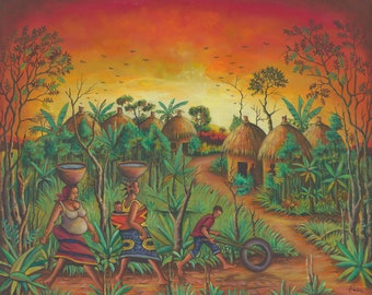 Village giclée art print of painting from Africa