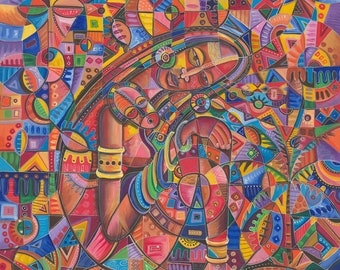 Mother and Child III fine art print of African painting