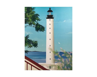 Poster Illustrated Biarritz Lighthouse