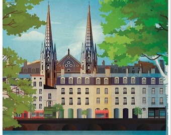 Illustrated poster Chartrons Bordeaux